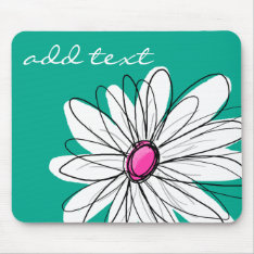 Trendy Floral Daisy Illustration - Pink And Green Mouse Pad at Zazzle