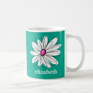 Trendy Floral Daisy Illustration - Pink and Green Classic White Coffee Mug