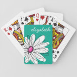 """Trendy Floral Daisy Illustration - Pink and Green Playing Cards<br><div class=""""desc"""">A zen and whimsical,  hipster piece of art. You can add a name,  monogram or other custom text. If you need to move the art around,  click on the customize button to make changes.</div>"""
