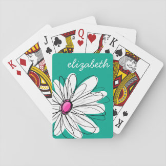 Trendy Floral Daisy Illustration - Pink and Green Playing Cards