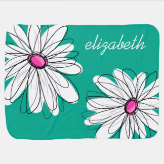 Trendy Floral Daisy Illustration - Pink and Green Swaddle Blanket