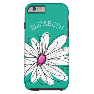Trendy Floral Daisy Illustration - Pink and Green Tough iPhone 6 Case