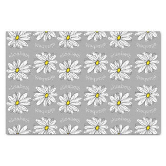 """Trendy Floral Daisy with gray yellow custom name 10"""" X 15"""" Tissue Paper"""