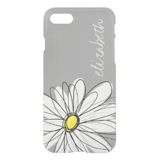 Trendy Floral Daisy with gray yellow custom name iPhone 8/7 Case