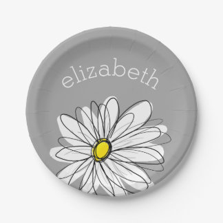Trendy Floral Daisy with gray yellow custom name Paper Plate