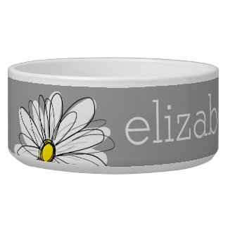 Trendy Floral Daisy with gray yellow custom name Pet Food Bowls