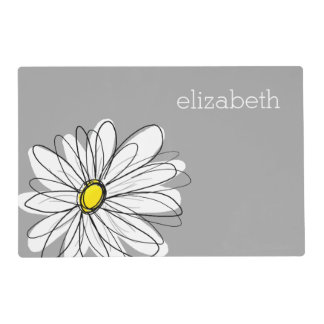Trendy Floral Daisy with gray yellow custom name Placemat