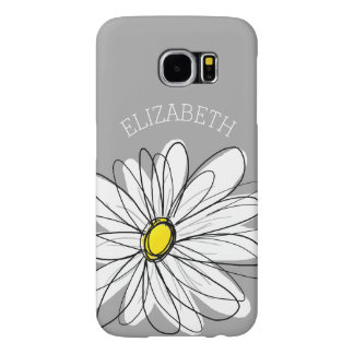 Trendy Floral Daisy with gray yellow custom name Samsung Galaxy S6 Case