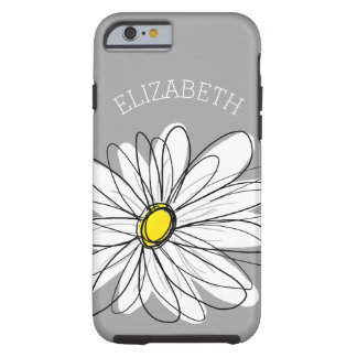 Trendy Floral Daisy with gray yellow custom name Tough iPhone 6 Case