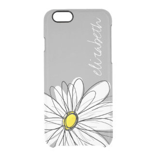 Trendy Floral Daisy with gray yellow custom name Uncommon Clearly™ Deflector iPhone 6 Case