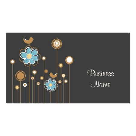 Trendy Charcoal Blue and Brown Floral Design with Little Birds Baby Boutique Shop Cards