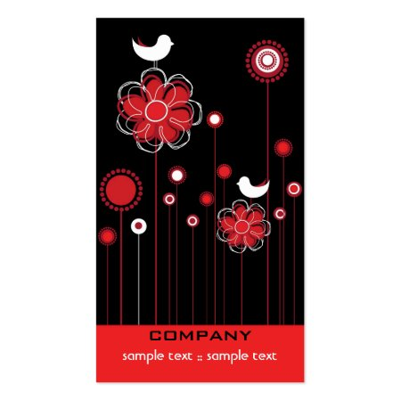 Black Red and White Stylish Trendy Modern Floral Baby Store Business Cards