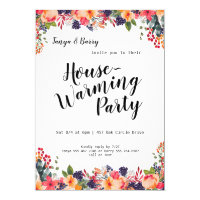 Trendy Floral Housewarming Party Invitation