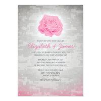 Trendy Floral Military Camo Wedding Invitations