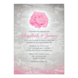 Trendy Floral Military Camo Wedding Invitations
