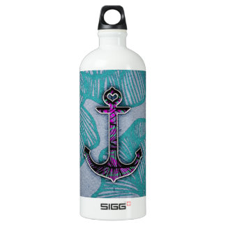 Trendy Floral Paper Blue and Purple Anchor Aluminum Water Bottle