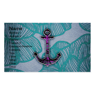 Trendy Floral Paper Blue and Purple Anchor Business Cards
