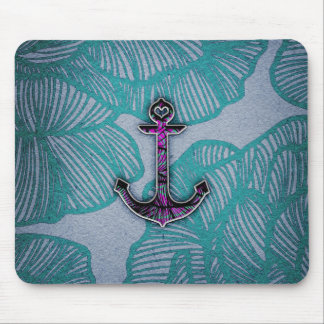 Trendy Floral Paper Blue and Purple Anchor Mouse Pad