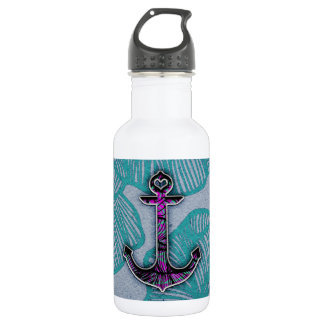 Trendy Floral Paper Blue and Purple Anchor Stainless Steel Water Bottle