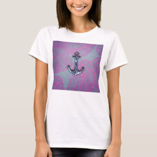 Trendy Floral Paper Blue and Purple Anchor T-Shirt