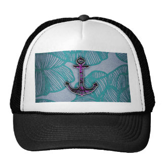 Trendy Floral Paper Blue and Purple Anchor Trucker Hat