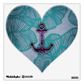Trendy Floral Paper Blue and Purple Anchor Wall Sticker