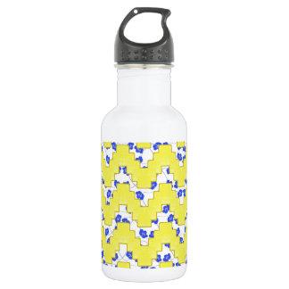 Trendy Floral Pastel Zig Zag Water Bottle