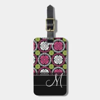 Trendy Floral Pattern Hot Pink and Black Monogram Luggage Tag