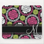 """Trendy Floral Pattern Hot Pink and Black Monogram Mouse Pad<br><div class=""""desc"""">Add your name or monogram to this funky illustration with flowers a graphic circles.</div>"""