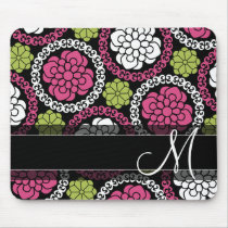 Trendy Floral Pattern Hot Pink and Black Monogram Mouse Pad