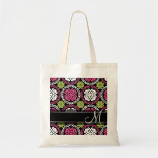 Trendy Floral Pattern Hot Pink and Black Monogram Tote Bag