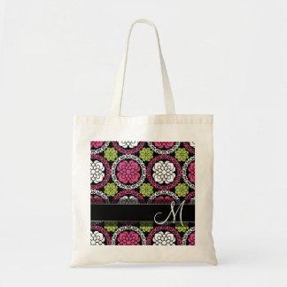 Trendy Floral Pattern Hot Pink and Black Monogram Tote Bag