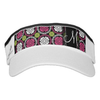 Trendy Floral Pattern Hot Pink and Black Monogram Headsweats Visor