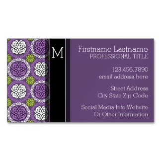Trendy Floral Pattern - Orchid and Lime Green Business Card Magnet