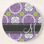 Trendy Floral Pattern - Orchid and Lime Green Coaster