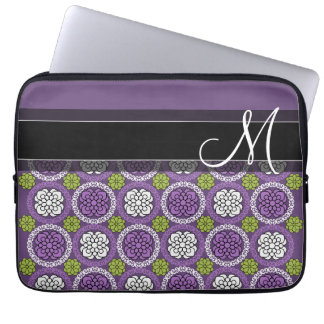 Trendy Floral Pattern - Orchid and Lime Green Computer Sleeve