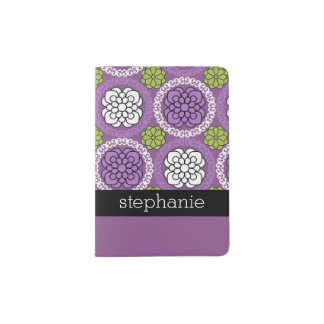 Trendy Floral Pattern - Orchid and Lime Green Passport Holder