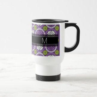 Trendy Floral Pattern - Orchid and Lime Green Travel Mug