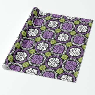 Trendy Floral Pattern - Orchid and Lime Green Gift Wrapping Paper
