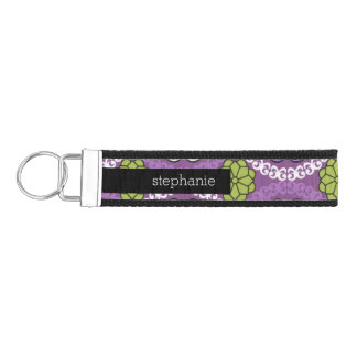 Trendy Floral Pattern - Orchid and Lime Green Wrist Keychain