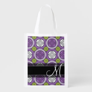 Trendy Floral Pattern - Orchid and Lime Green Grocery Bag