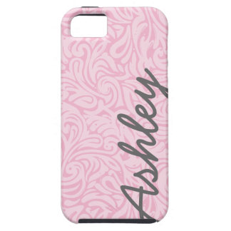 Trendy Floral Pattern with name - pink and gray iPhone SE/5/5s Case