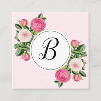 Trendy floral pink monogram rose business cards