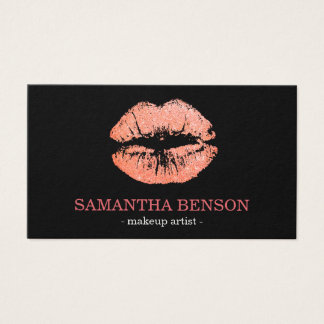 Trendy Floral Rose Gold Lips Makeup Artist Business Card