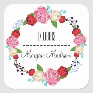 Trendy Floral Roses Wreath Bookplate