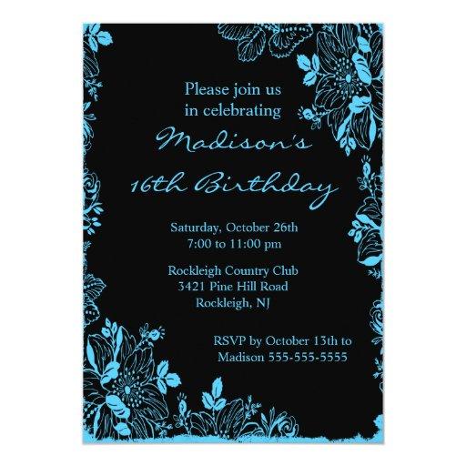 Trendy Floral Sweet Sixteen Birthday Invitation
