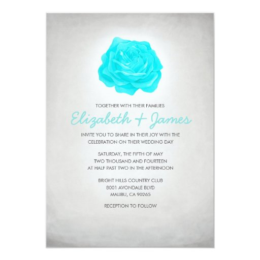 Trendy Floral Teal And Silver Wedding Invitations