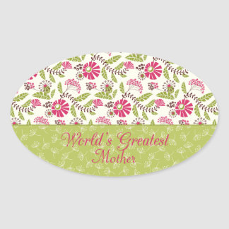 Trendy floral world's greatest mom oval sticker