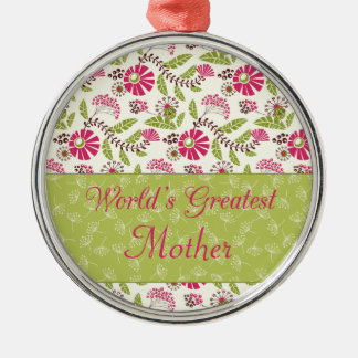 Trendy floral world's greatest mom round ornament