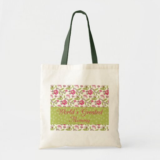 Trendy floral world's greatest mom tote bag